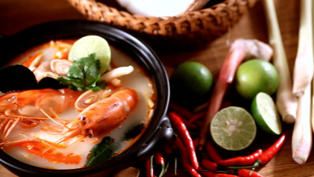 tom yum soup - thai food stock videos and b-roll footage