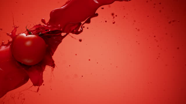 SLO MO Tomato flying through red color in the air video
