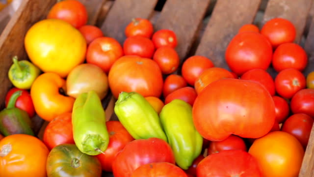 Tomatoes and peppers in a wooden box. video
