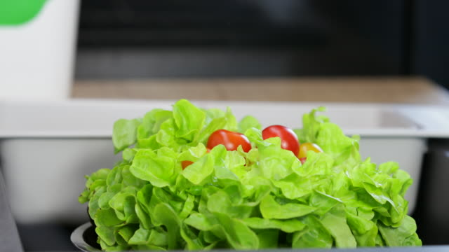 Tomatoes falling down on lettuce on by one