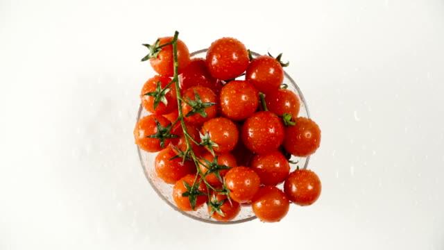 vídeos de stock e filmes b-roll de tomatoes in a glass bowl - saladeira