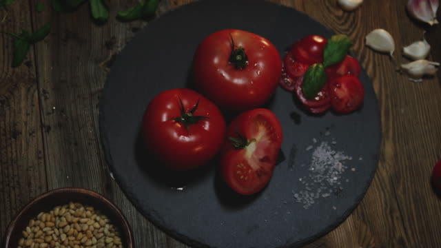 Tomatos garlic and pine nuts