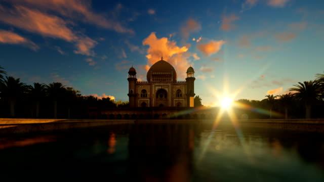 Tomb of Safdarjung, Delhi, India, against magical sunrise, zoom in