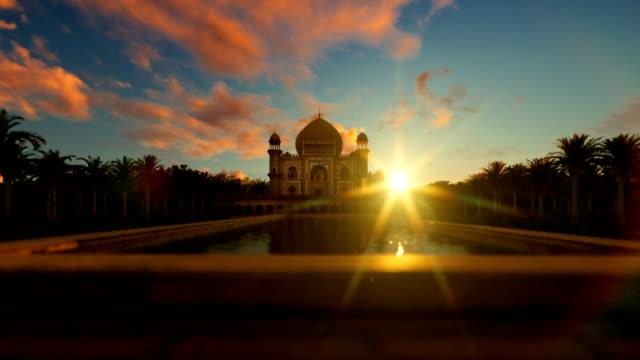 Tomb of Safdarjung, Delhi, India, against sunrise, camera flight