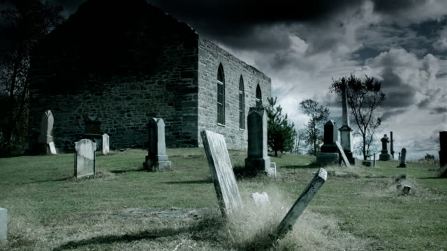 Toned Time Lapse of Abandoned Church and Cemetery
