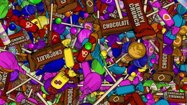 噸卡通糖果雨下背景 - 波板糖 個影片檔及 b 捲影像