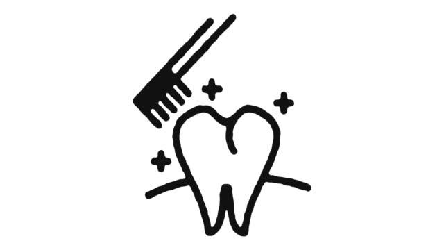 歯磨きアイコンアニメーション映像&アルファチャンネル - 歯科点の映像素材/bロール