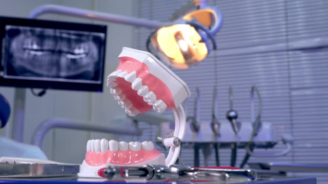 Tooth model instruments on the dentist table and panoramic x-ray image in the background video