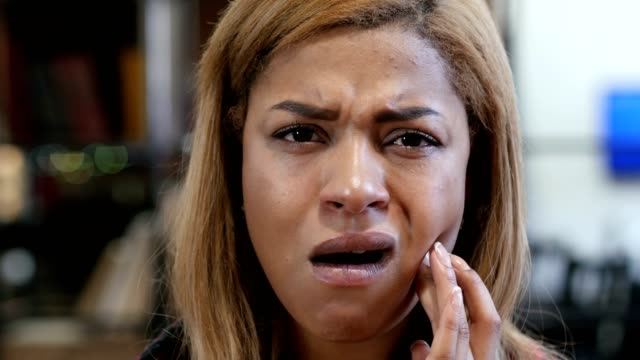 Toothache, Young Black Woman in Pain, Close Up video