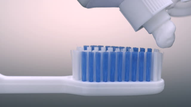 Toothpaste on toothbrush, Slow Motion video
