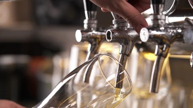 vídeos de stock, filmes e b-roll de tiro inferior superior de uma mão dos bartenders que prende um vidro e que derrama a cerveja da torneira. vídeo de demonstração de close-up - provando usando a boca