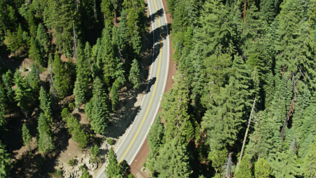Top Down Aerial of Volcanic Legacy Scenic Byway Near Lassen Volcanic National Park