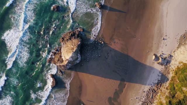 Top Down Aerial View of Dramatic Oregon Coastline video