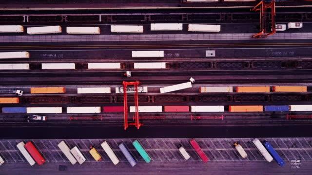 Top Down Aerial View of Intermodal Rail Yard video