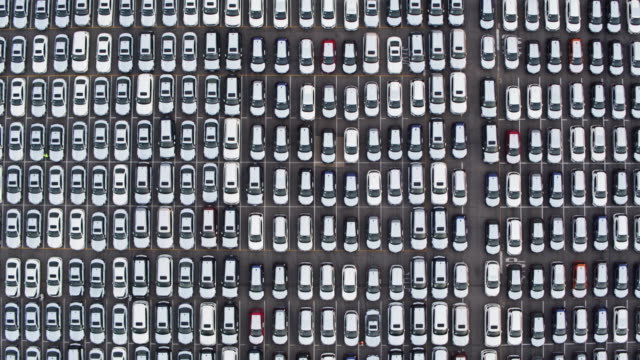 Top Down Drone Shot of Grid of New Cars