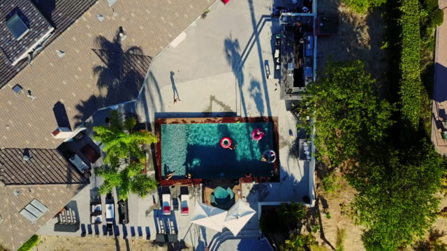Top Down Drone Shot of Pool Party video