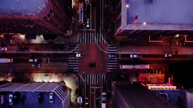 Top Down Drone Shot of Seventh Street, Downtown LA at Sunset video