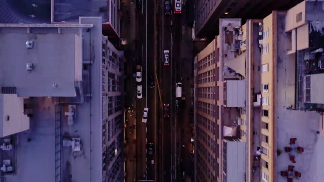 top down drone shot of seventh street, downtown la - american architecture stock videos & royalty-free footage