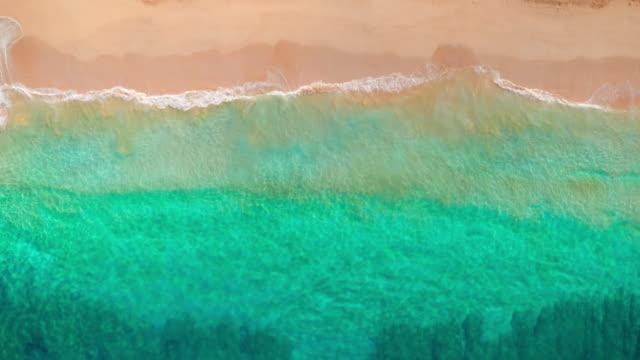 vídeos y material grabado en eventos de stock de de arriba hacia abajo vista de playa aérea tropical de olas rompiendo en la playa de arena blanca - azul turquesa