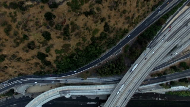 Top down view of freeways above Los Angeles park video