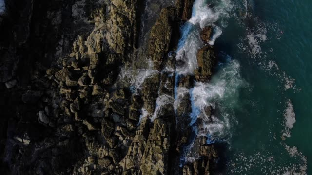 Top Down View of New England Rocky Coastline video