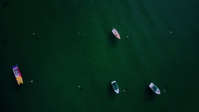 Top Down View of Small Boats on Clear Lake video
