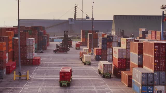 Top Handlers and Trucks in Container Terminal - Drone Shot video