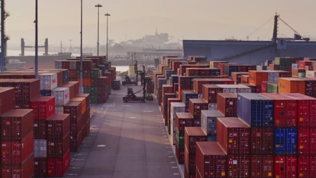 Top Handlers Working in Container Port - Drone Shot video