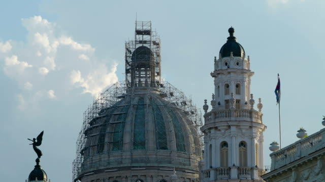 Top of Capitolio Building Covered by Scaffolding Closeup, Havana, Cuba video