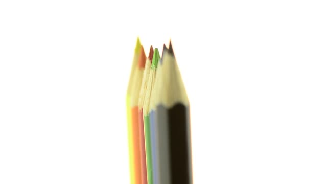 top of color pencils - white background стоковые видео и кадры b-roll