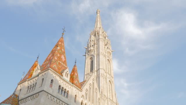 top of matthias church on buda hill in hungarian capital budapest by the day 4k - gothic architecture stock videos & royalty-free footage