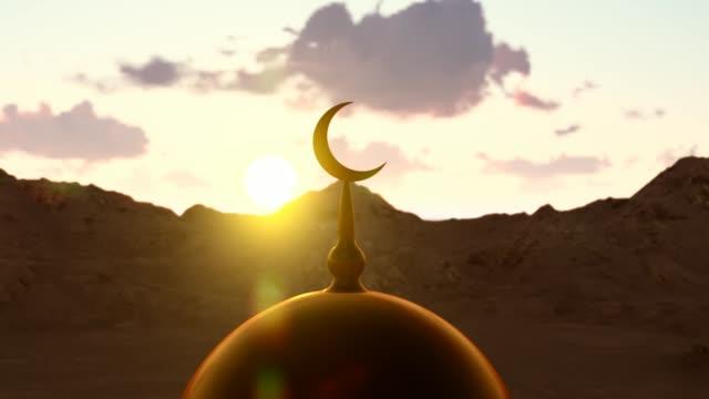 överst i moskén och islamisk symbol - halvmåne form bildbanksvideor och videomaterial från bakom kulisserna