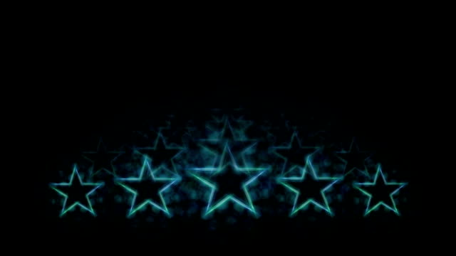 top quality rating animation. evaluation and classification. five blue neon light stars on black background and reflections in perspective. copy space. - cinque oggetti video stock e b–roll