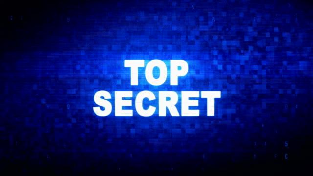 top secret text digital noise twitch glitch distortion effect error animation. - proibizione video stock e b–roll