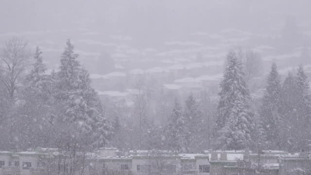 Top shot of city mountain view on cold blizzard snow winter day – Video