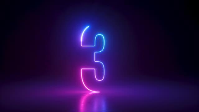 top ten conto alla rovescia, numeri di luce al neon da 10 a 1, raggio laser appare su sfondo nero - conto alla rovescia video stock e b–roll