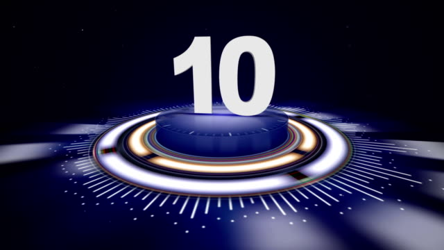 number 10, top ten numbers animation with alpha channel, rendering, background, loop - badge video stock e b–roll