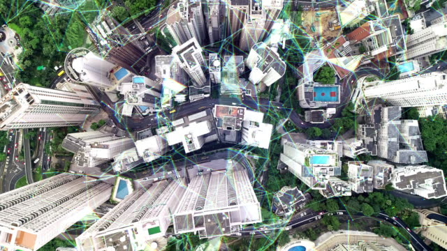 Top view 4K Drone and Network technology in communication is a spider web, The background is the view of Hong Kong.