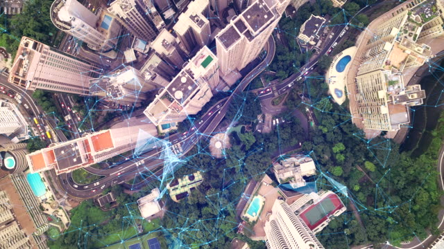top view 4k drone and network technology in communication is a spider web, the background is the view of hong kong. - balance graphics video stock e b–roll