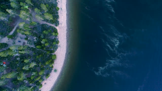 Top view aerial drone of beautiful mountain lake shore video