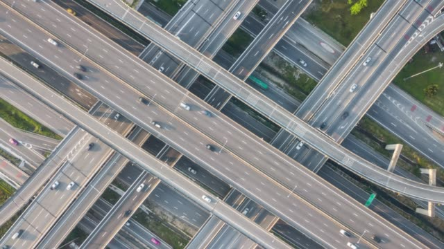 Top view Aerial traffic timelapse Aerial View, City, Multiple Lane Highway, Bridge - Built Structure, Built Structure complexity stock videos & royalty-free footage