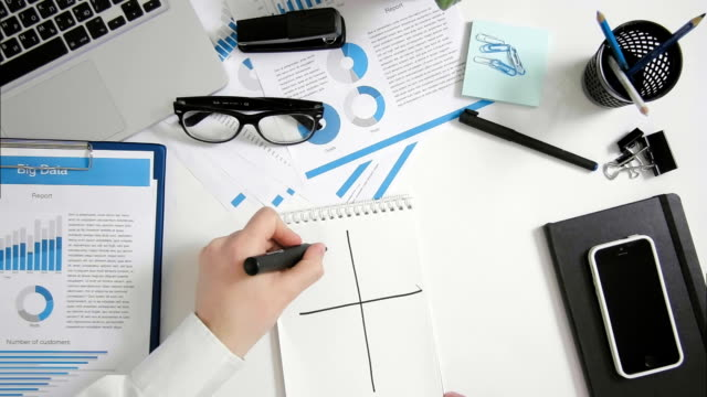 Top view businessman sitting at office desk doing SWOT analysis