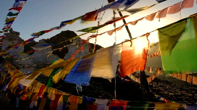 Top view Colorful Prayer Flags on  the hill in Leh,India video