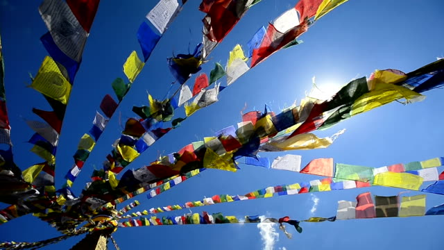 Top view Colorful Prayer Flags on the Nepal video