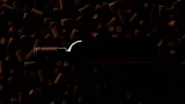 코르크 위에 와인 병의 최고보기 크레인 샷 - 와인병 스톡 비디오 및 b-롤 화면