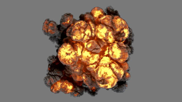 Top view explosion with smoke coming at cam and luma matte Top view explosion with with smoke coming at cam.  Ideal for compose with another image. Luma matte is provided. explosive stock videos & royalty-free footage