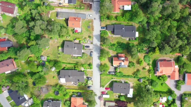top view, flying over idyllic villa area - aerial map stock videos & royalty-free footage