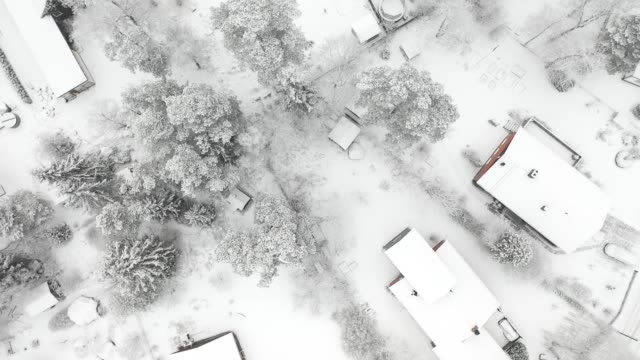 top view, flying over villa area, winter day - aerial map stock videos & royalty-free footage
