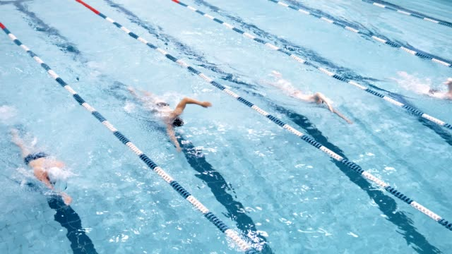 top visa fyra professionella simmare flyter på spåret i poolen som utför crawlningen stil - tävlingsidrott bildbanksvideor och videomaterial från bakom kulisserna