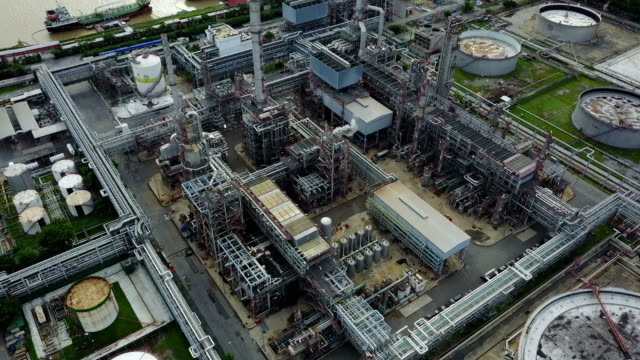 4K Top view from oil tanks in a refinery video
